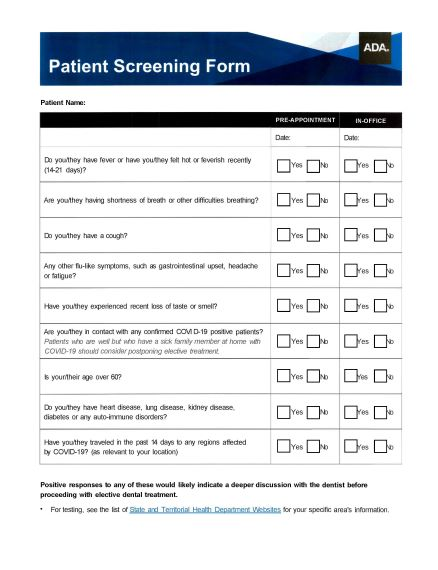 Patient Screening Form Thumbnail